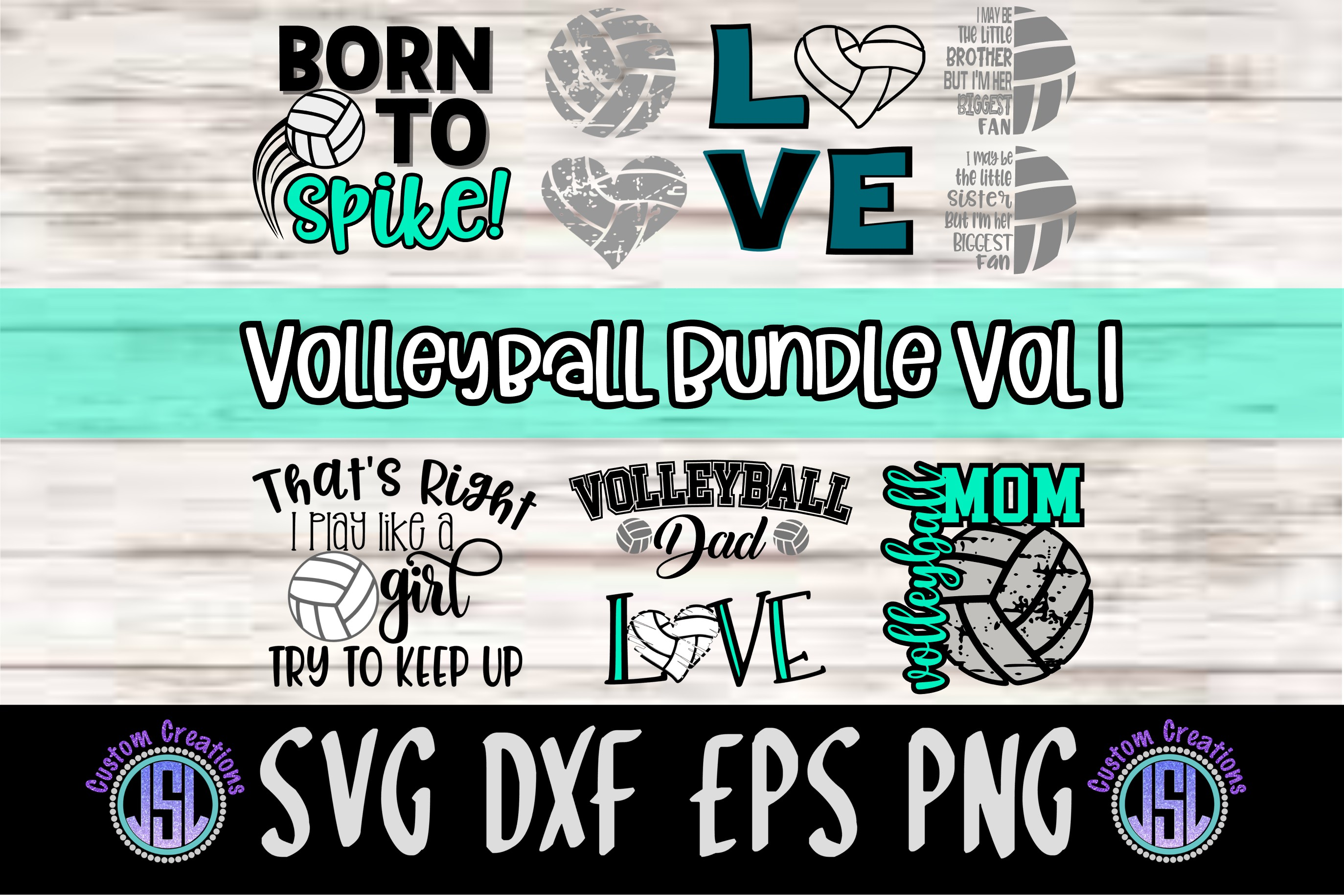 Volleyball Bundle Vol 1 |Set of 10 | SVG DXF EPS PNG example image 1