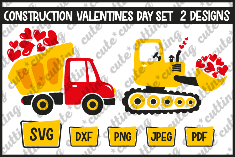Dump truck with hearts, excavator with hearts svg, png, dxf example image 1