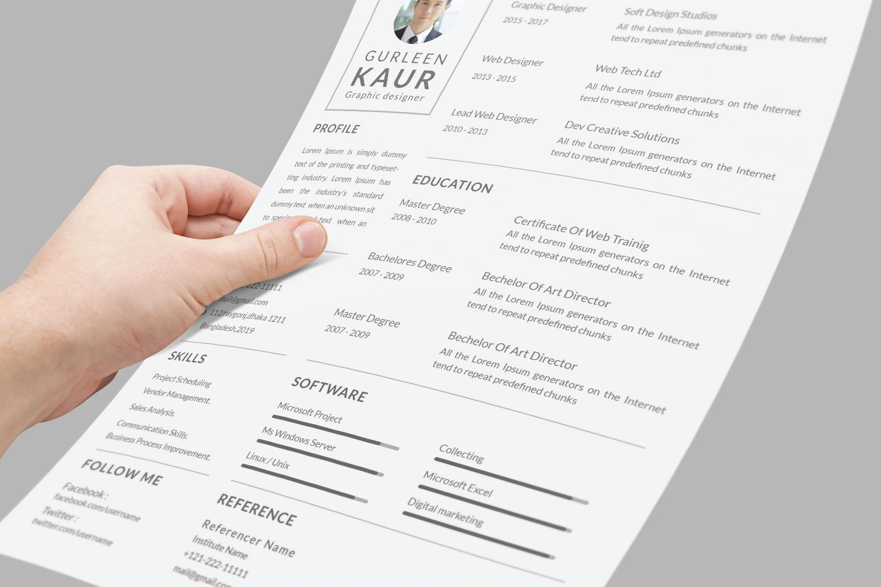 Professional Cv Resume Bonus business card Word/PSD,AI example image 9