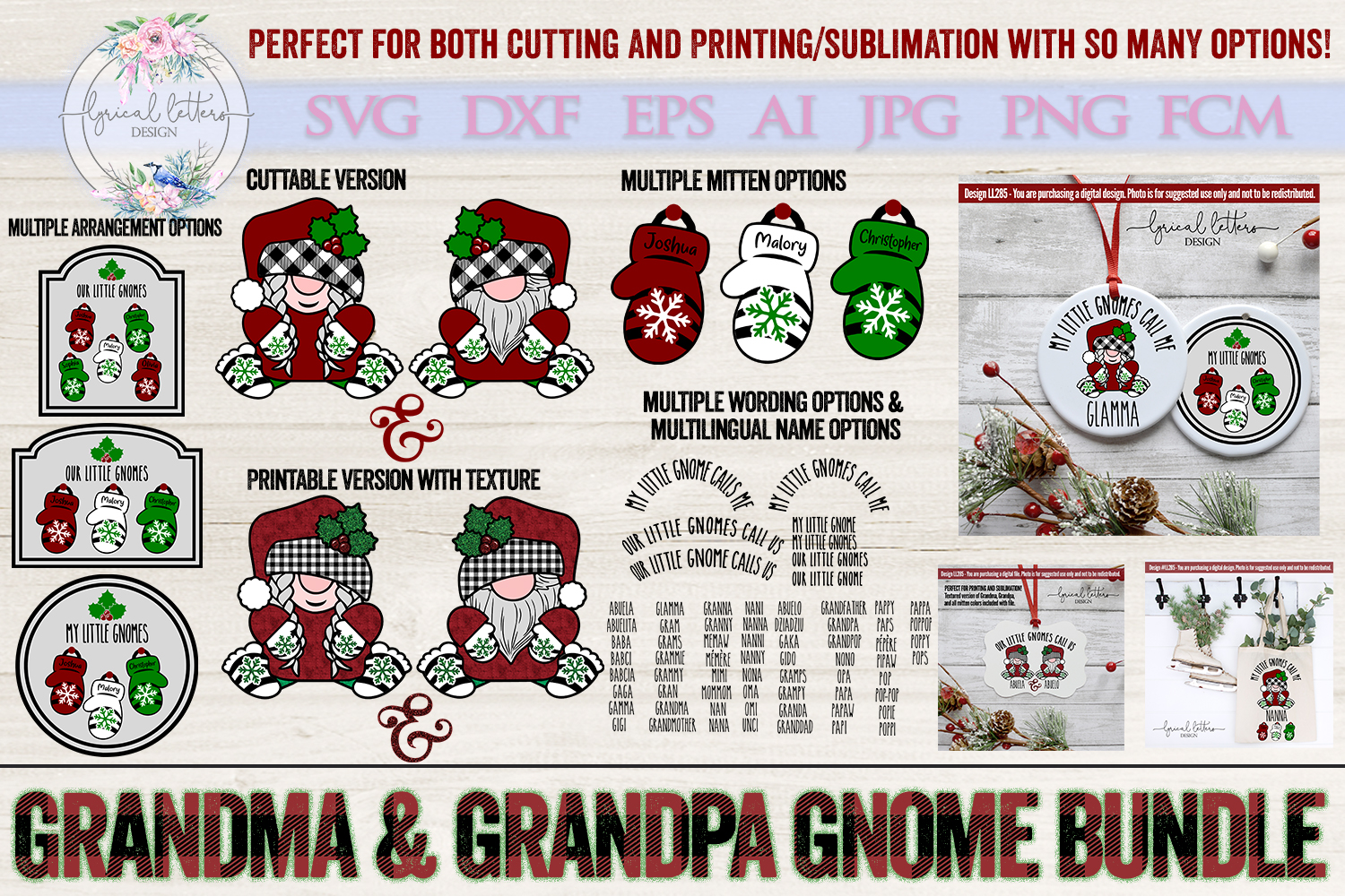 NEW! Grandma and Grandpa Gnome SUBLIMATION and SVG LL285 example image 1