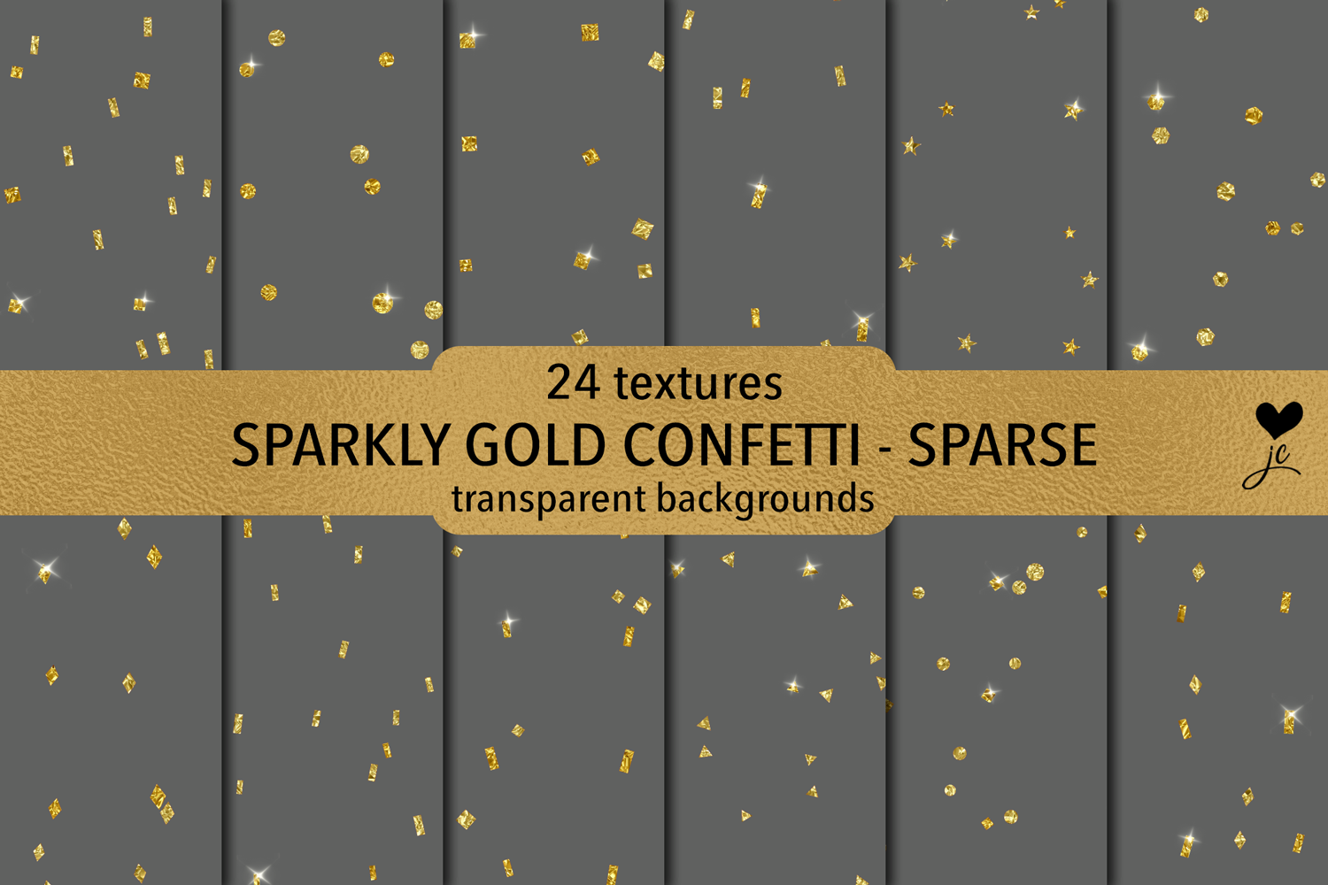 Sparkly Gold Confetti (Sparse) - transparent backgrounds example image 1