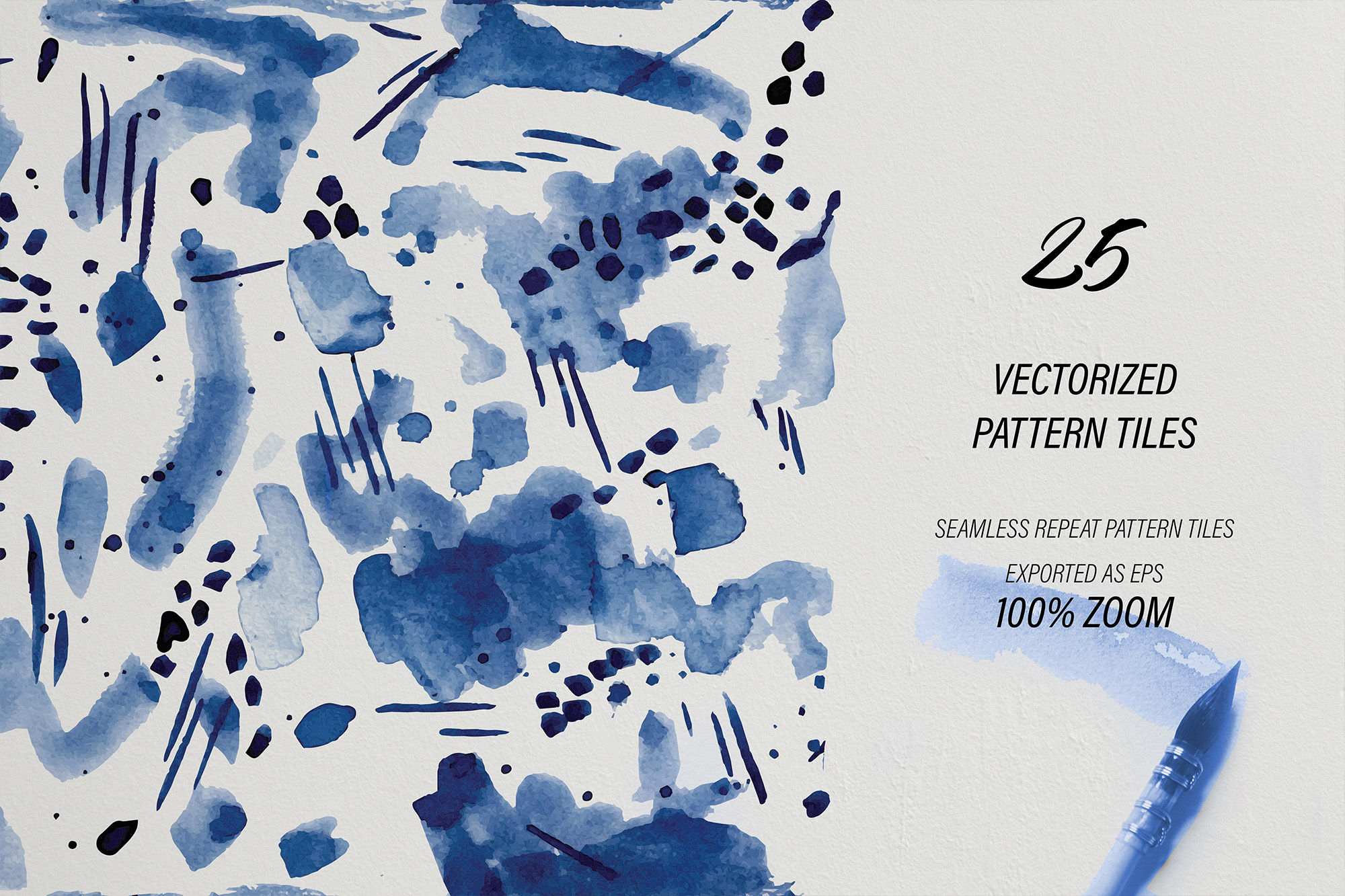 Blueberry Watercolor Pattern Collection example image 2