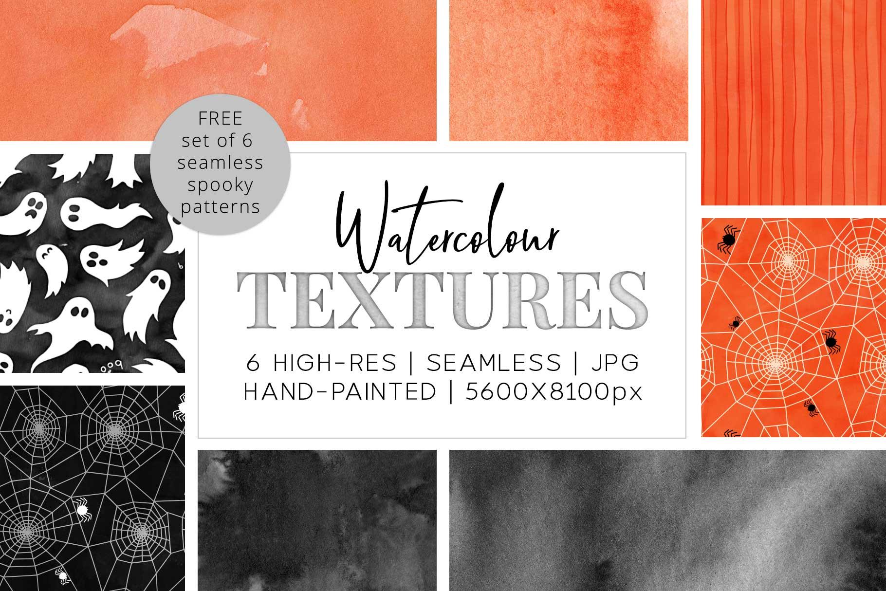 6 Huge Seamless Watercolour Halloween Textures example image 1