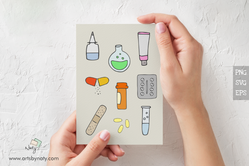 Medical Hand-Drawn SVG Vector Pack with 54 files. example image 2