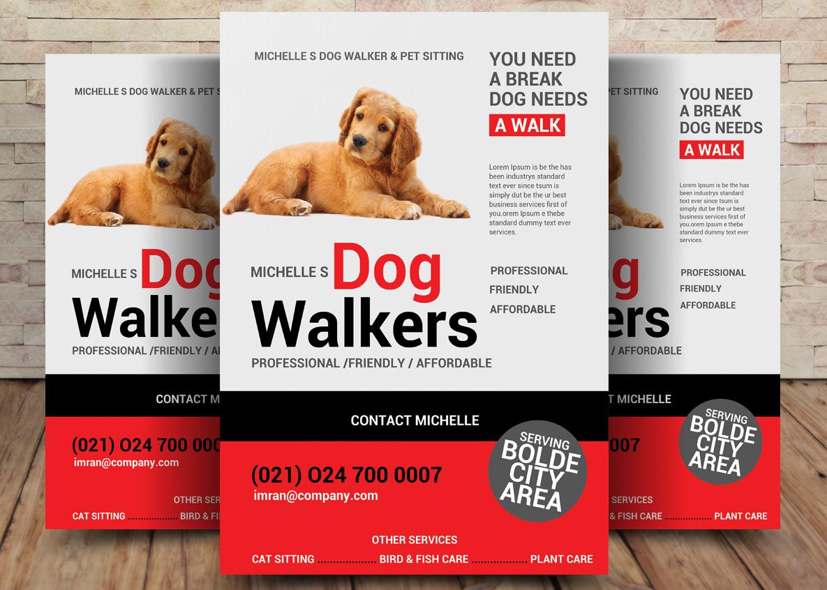 Dog Walker Flyer Template example image 1