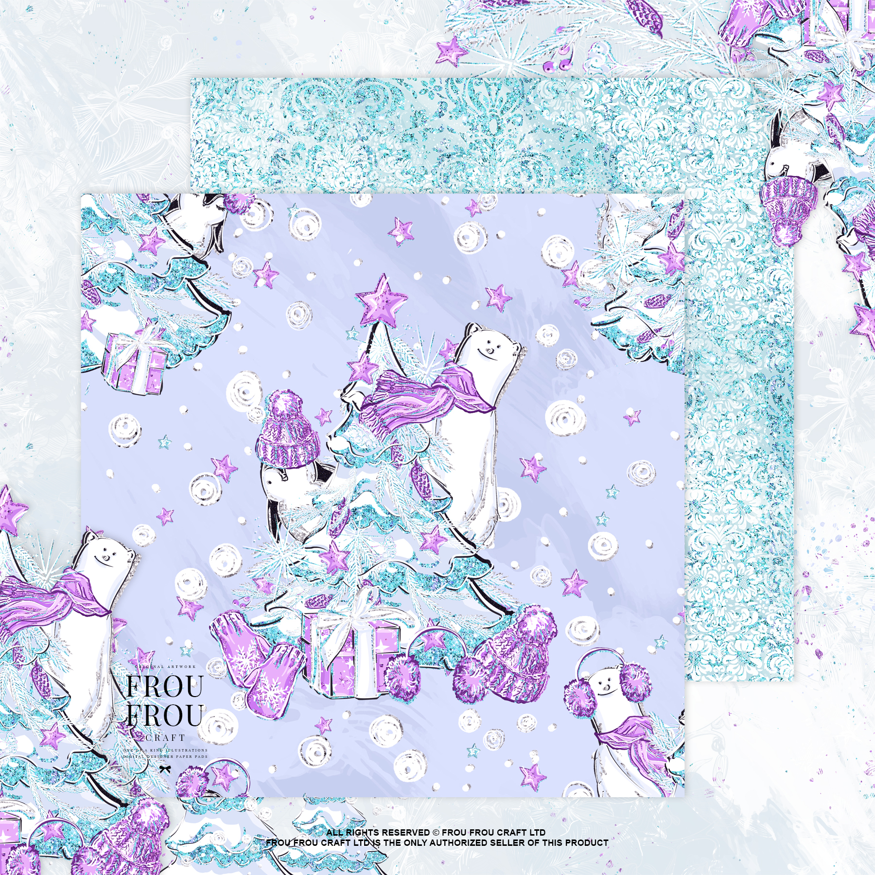 Winter Christmas Tree Penguin Bear Paper Pack example image 6