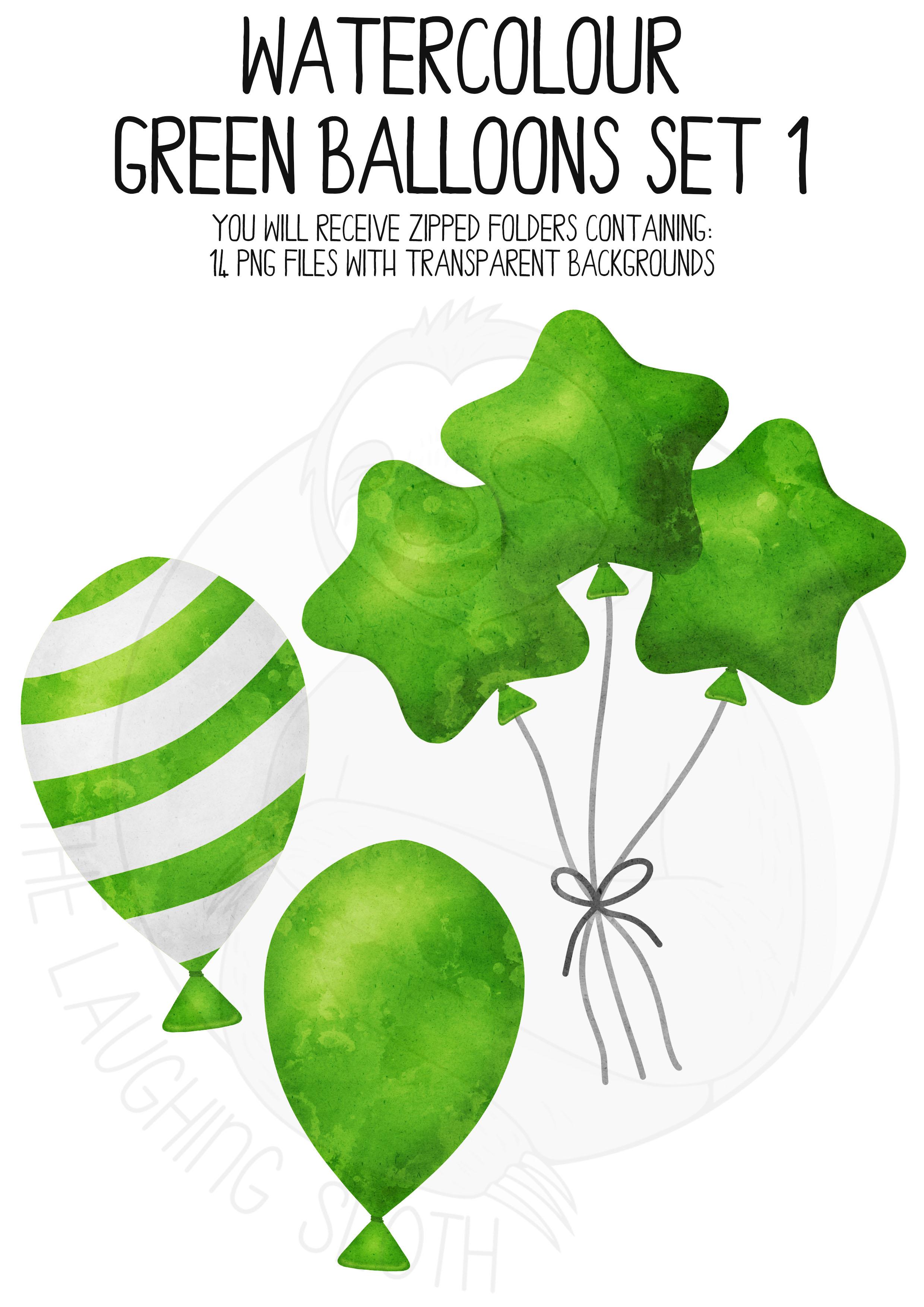 Green Watercolor Balloon Clipart Set example image 4