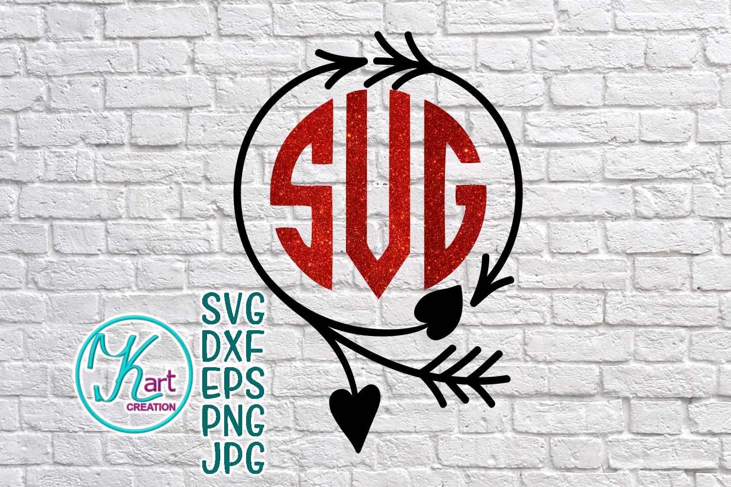 Valentines day wreath circle monogram svg dxf cutting file example image 1