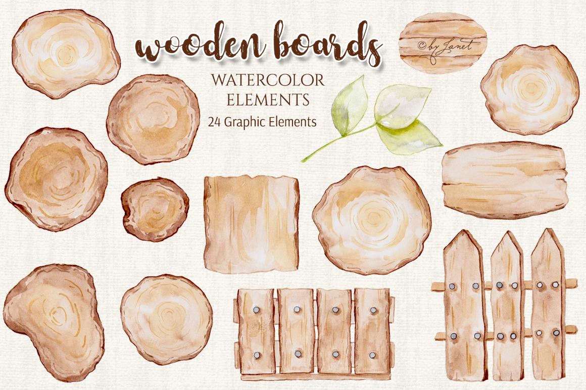 Wooden Boards Watercolor example image 3