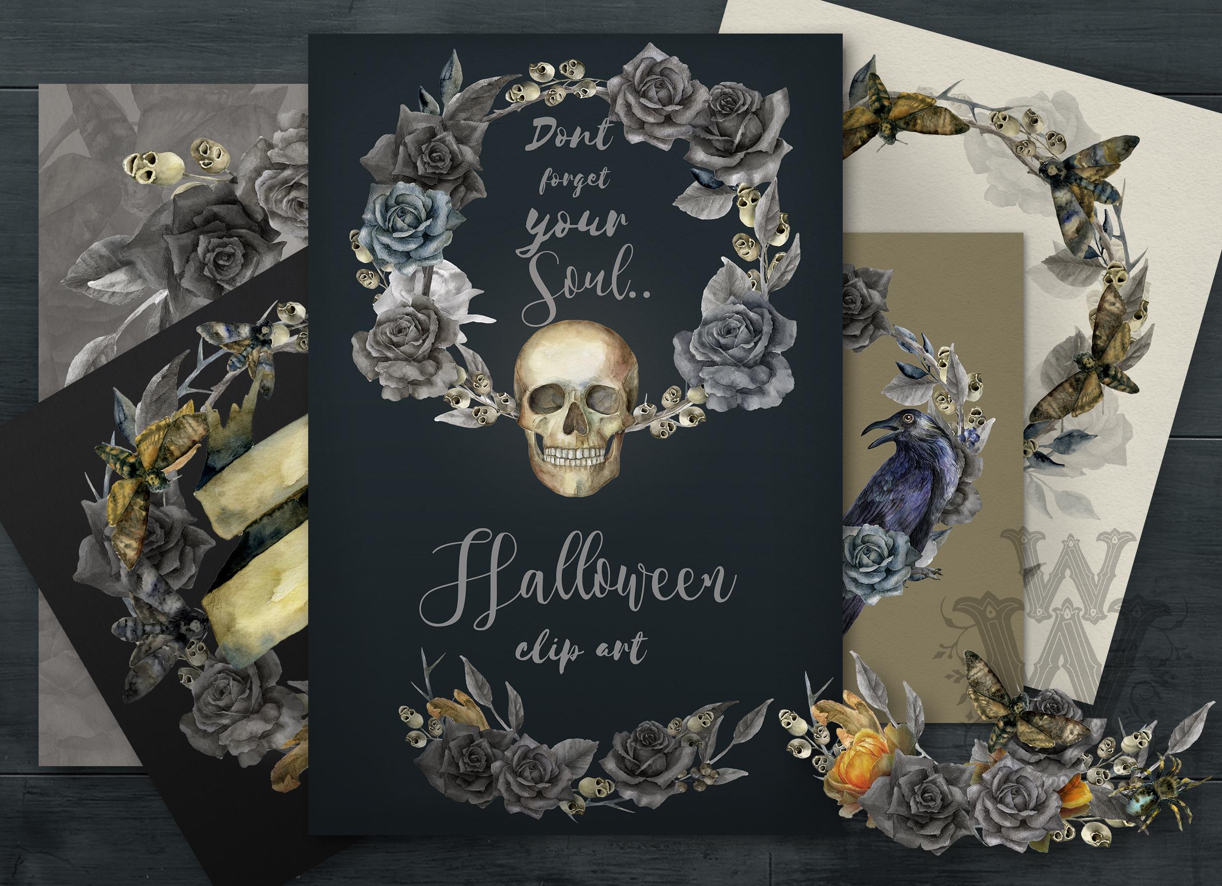 Halloween watercolor pack, Jack o Lantern pumpkin, wreath example image 3