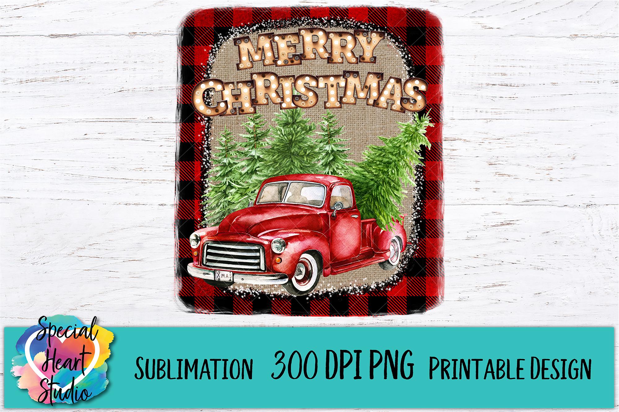 Buffalo Plaid Burlap Red Truck - Christmas Sublimation example image 2