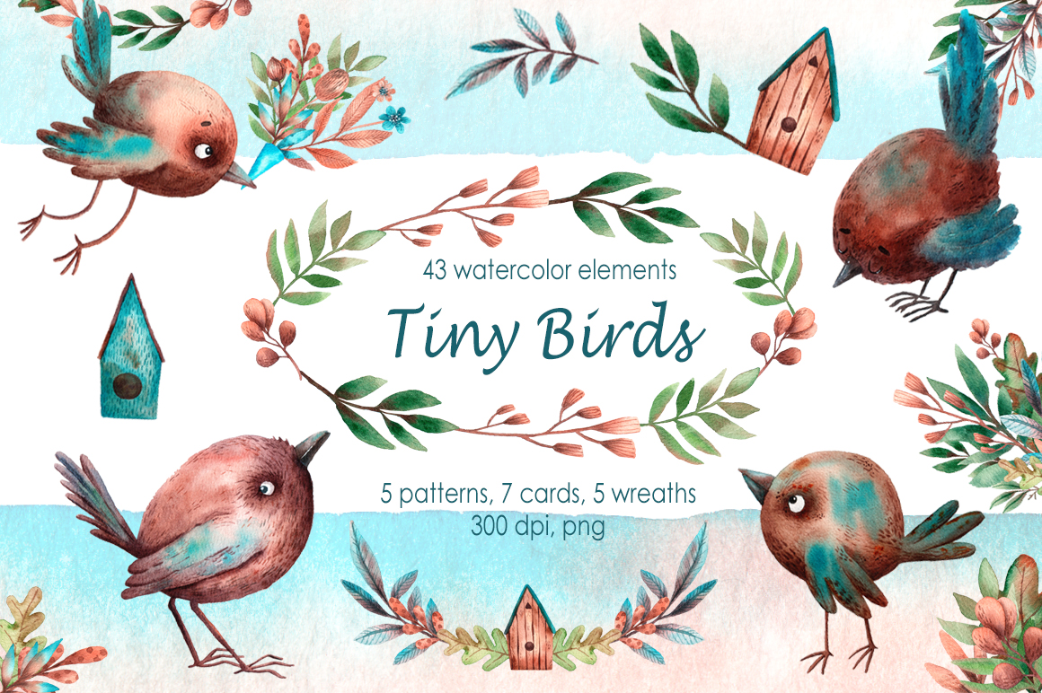 Tiny Birds - Watercolor Clip Art Set example image 1