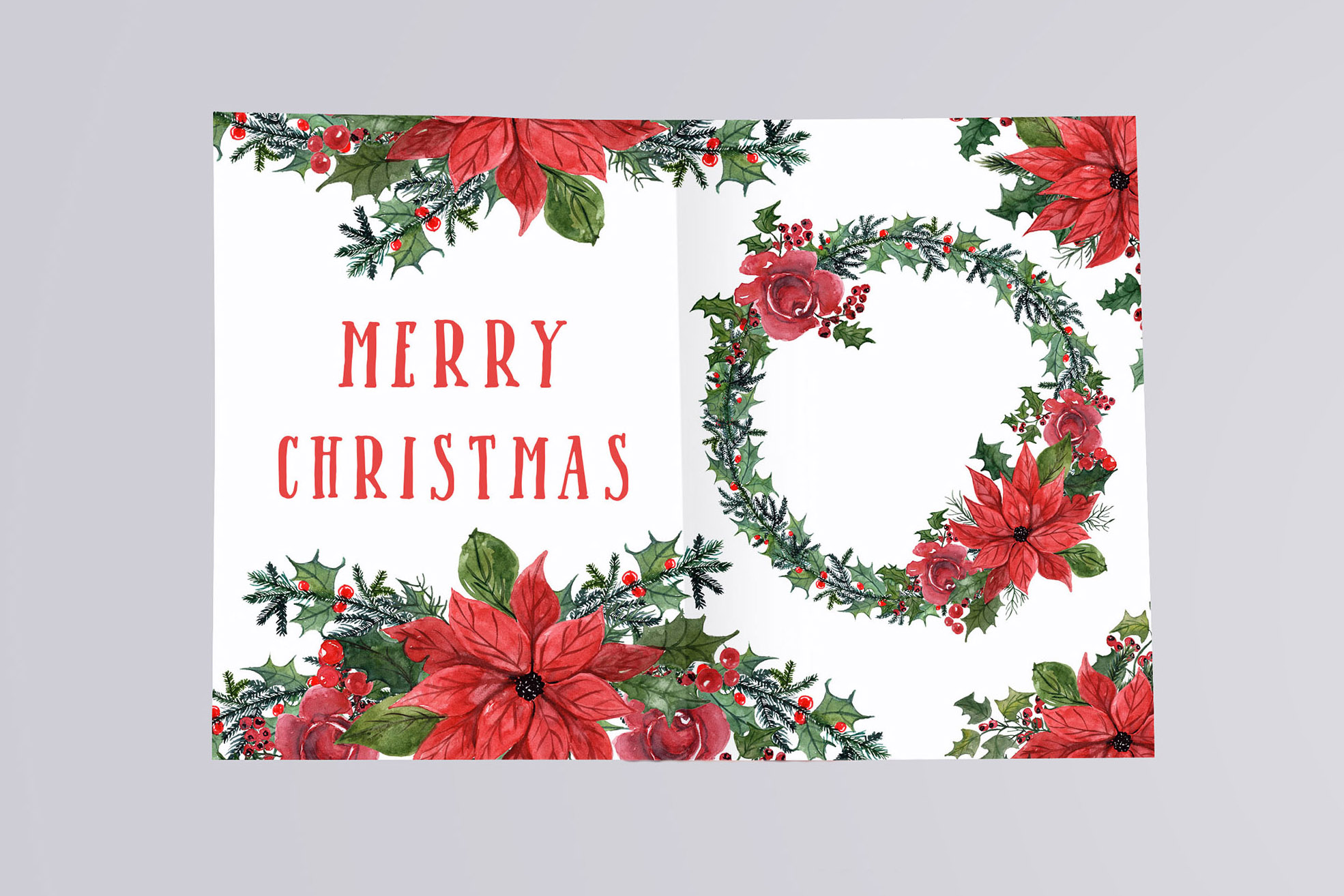 Watercolor Christmas Wreaths Clipart example image 5