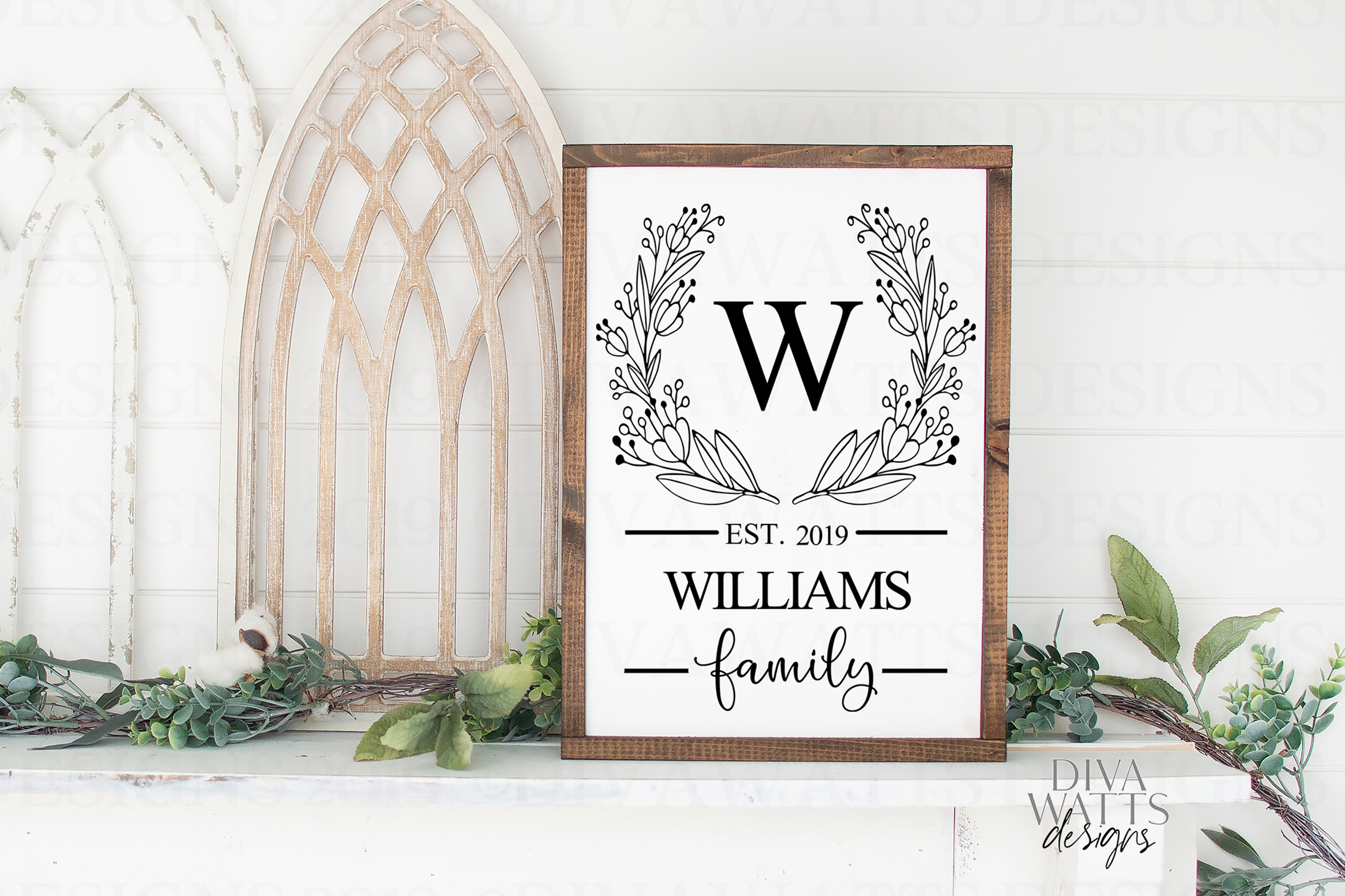Monogram Wreath Family Last Name Farmhouse Sign SVG example image 2