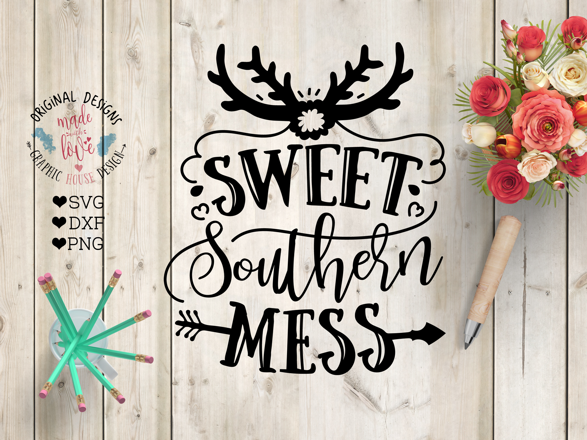 Sweet Southern Mess Cut File SVG, DXF, PNG example image 1