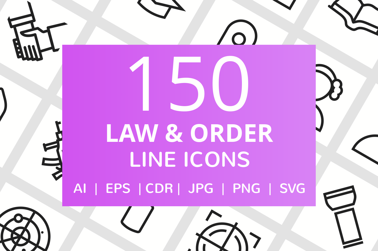 150 Law & Order Line Icons example image 1