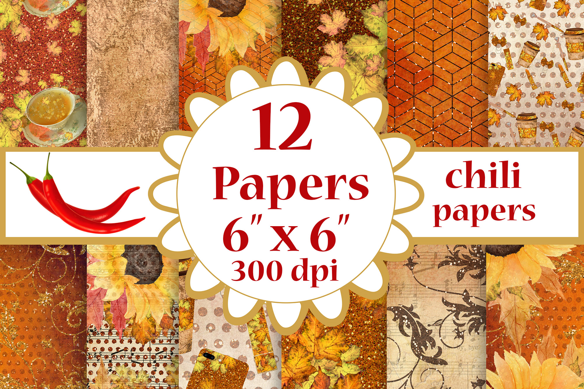 Fall digital papers, Sunflower papers,Autumn paper pack, 6x6 example image 1
