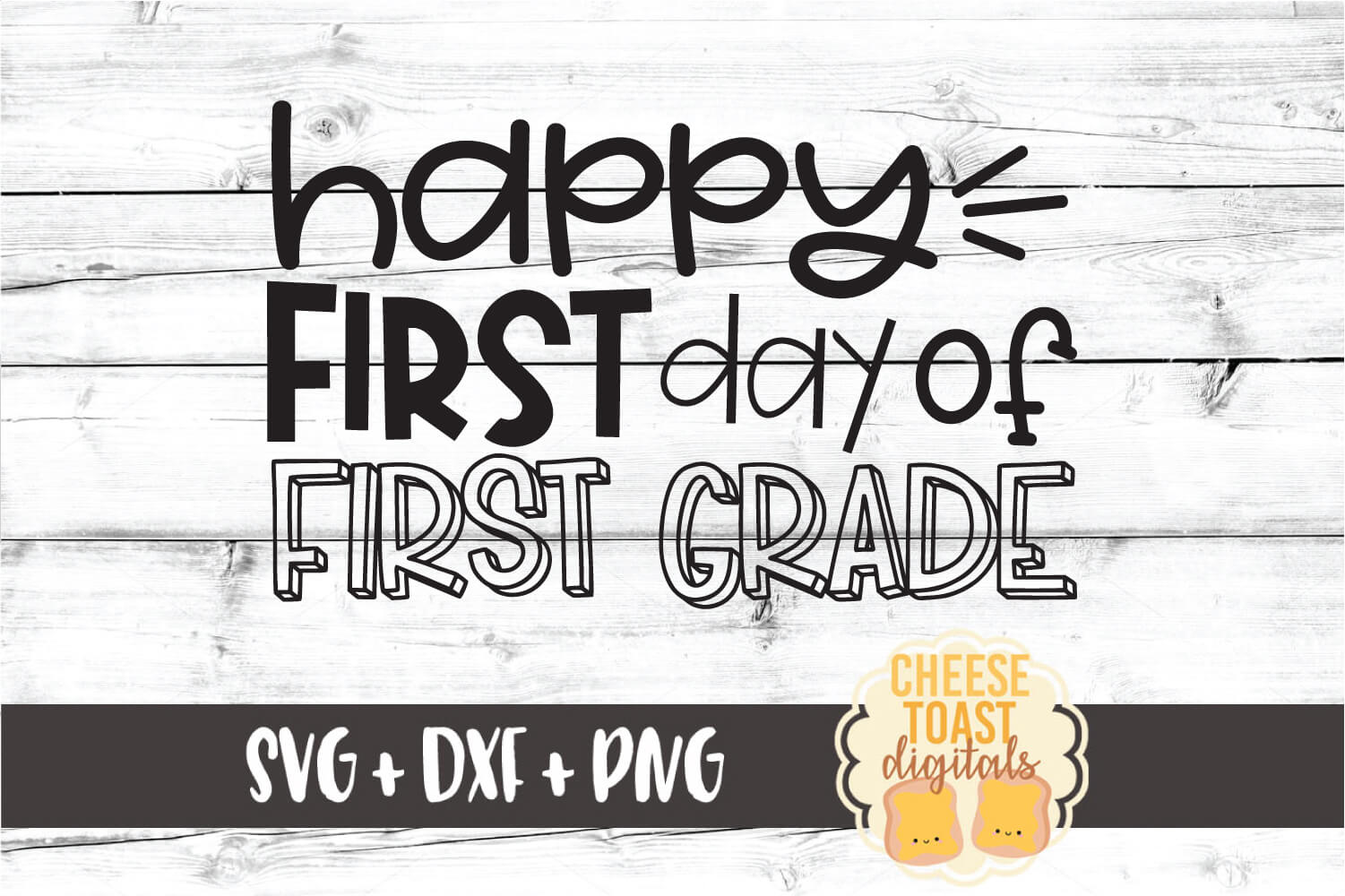 Happy First Day of First Grade - Back to School SVG PNG DXF example image 2