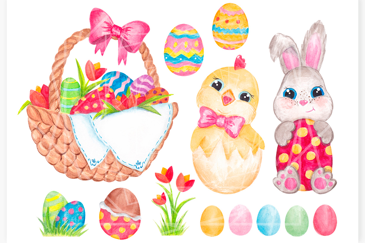 Easter clipart Watercolor Easter bunny and Chick graphics example image 2