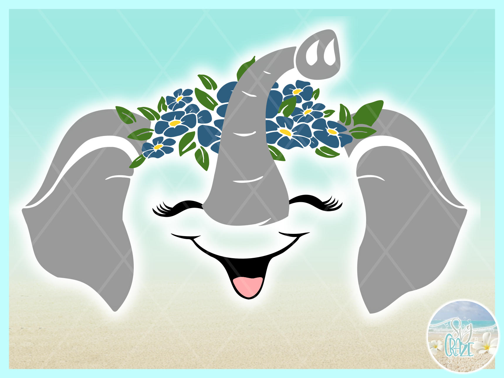 Elephant Face Flowers SVG Dxf Eps Png PDF example image 2