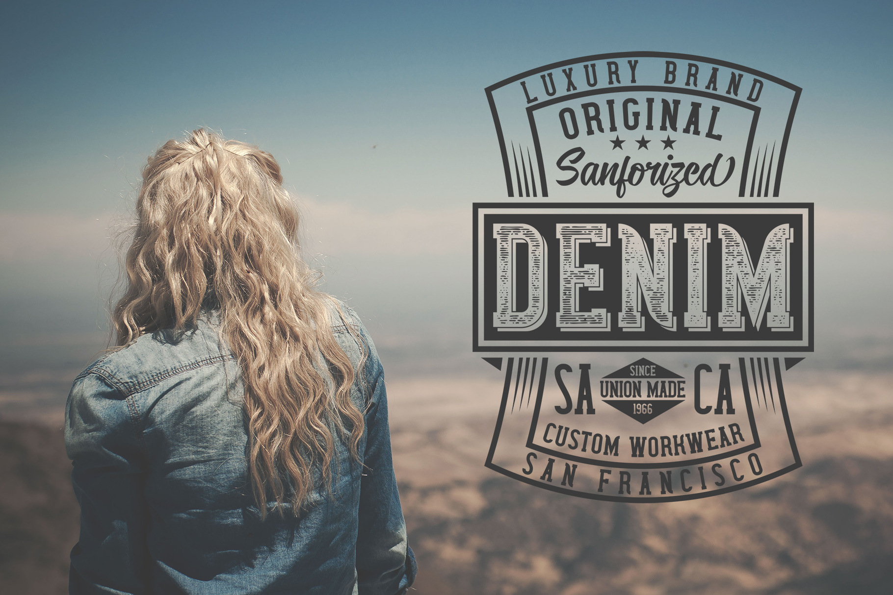 Wanted Denim layered font example image 6