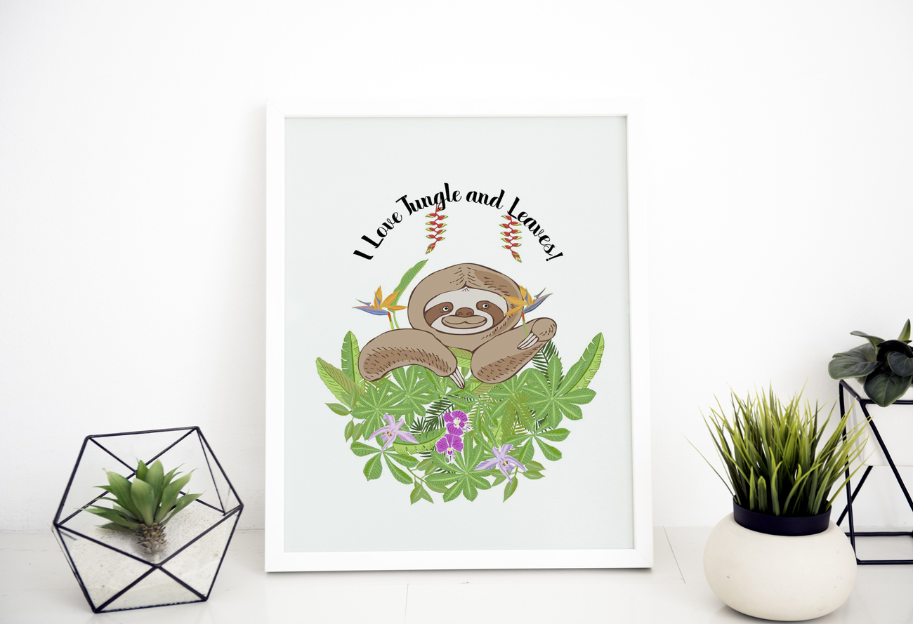 Sloths in Jungle Digital Clipart example image 7