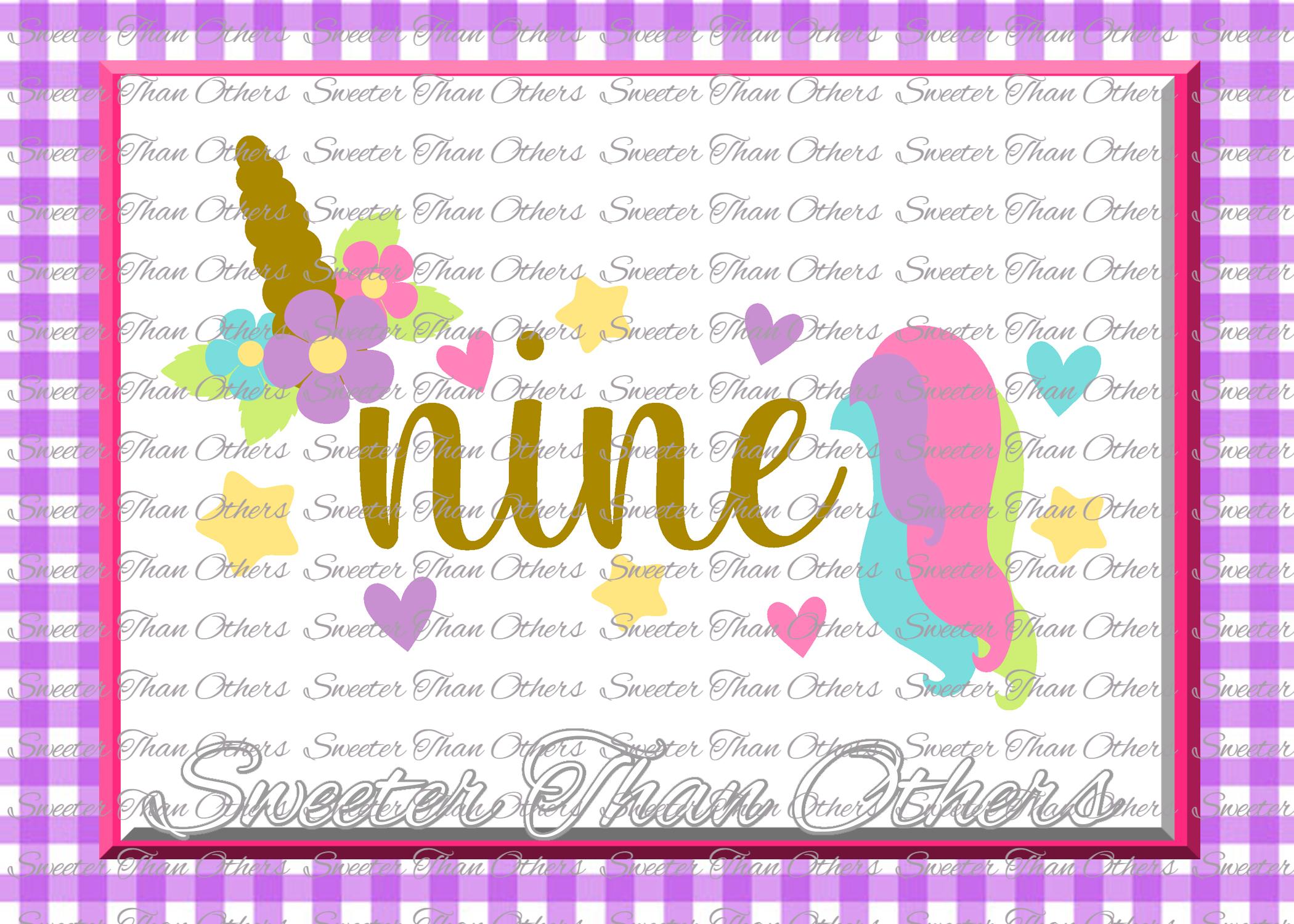 Ninth Birthday SVG, 9th Birthday Unicorn svg example image 1