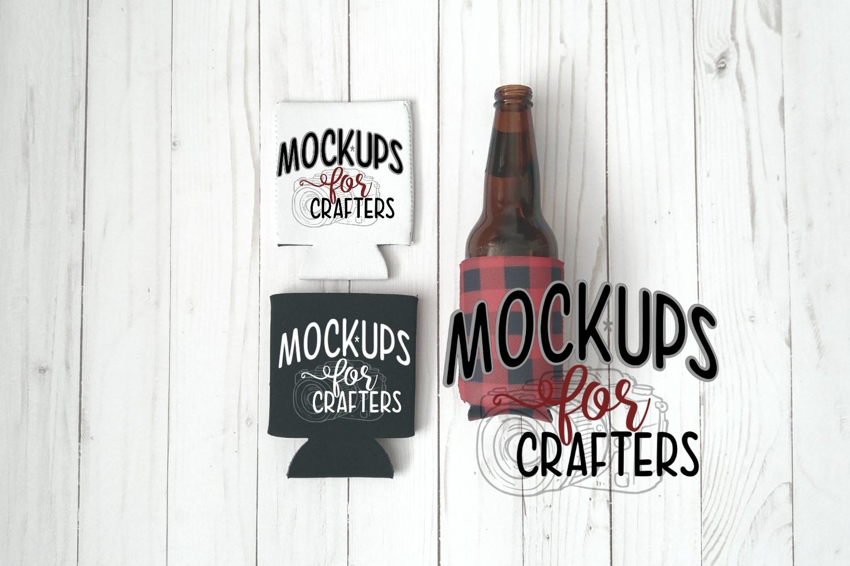 MOCK-UP, Bottle/can covers, buffalo plaid, white, black example image 1