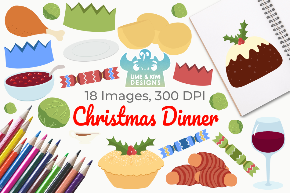 Christmas Dinner Clipart, Instant Download Vector Art example image 1