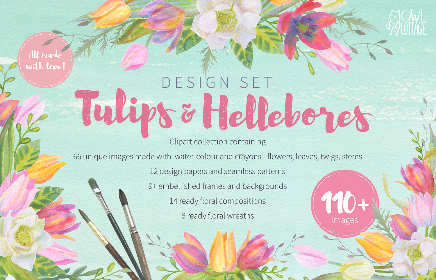 Floral Design Pack Watercolor Pastel