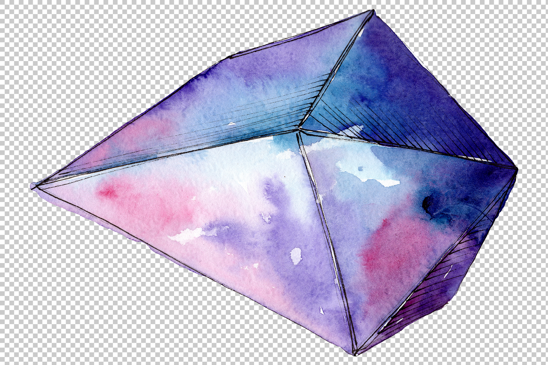 Violet crystals Watercolor png example image 4