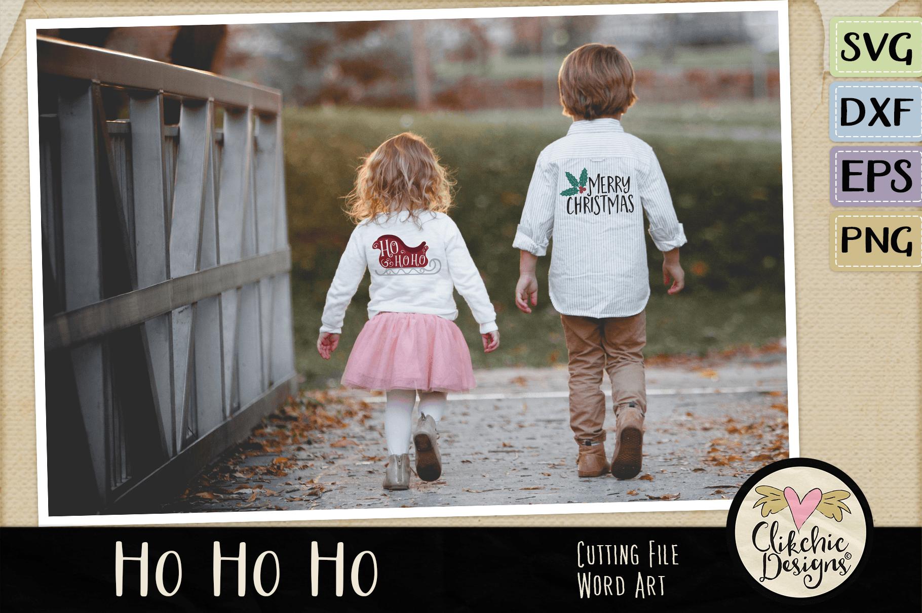 Chistmas SVG - Ho Ho Ho Santa's Sleigh Word Art Clipart example image 3