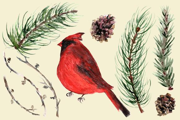 Winter Joy - 35 Watercolor Set example image 5