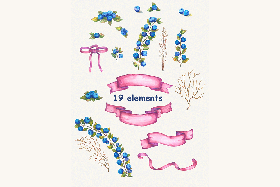 Bluberry clipart, Watercolor clipart, bluberry, wedding example image 2