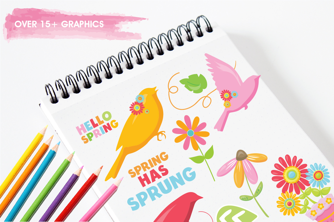 Spring Birds graphics and illustrations example image 3