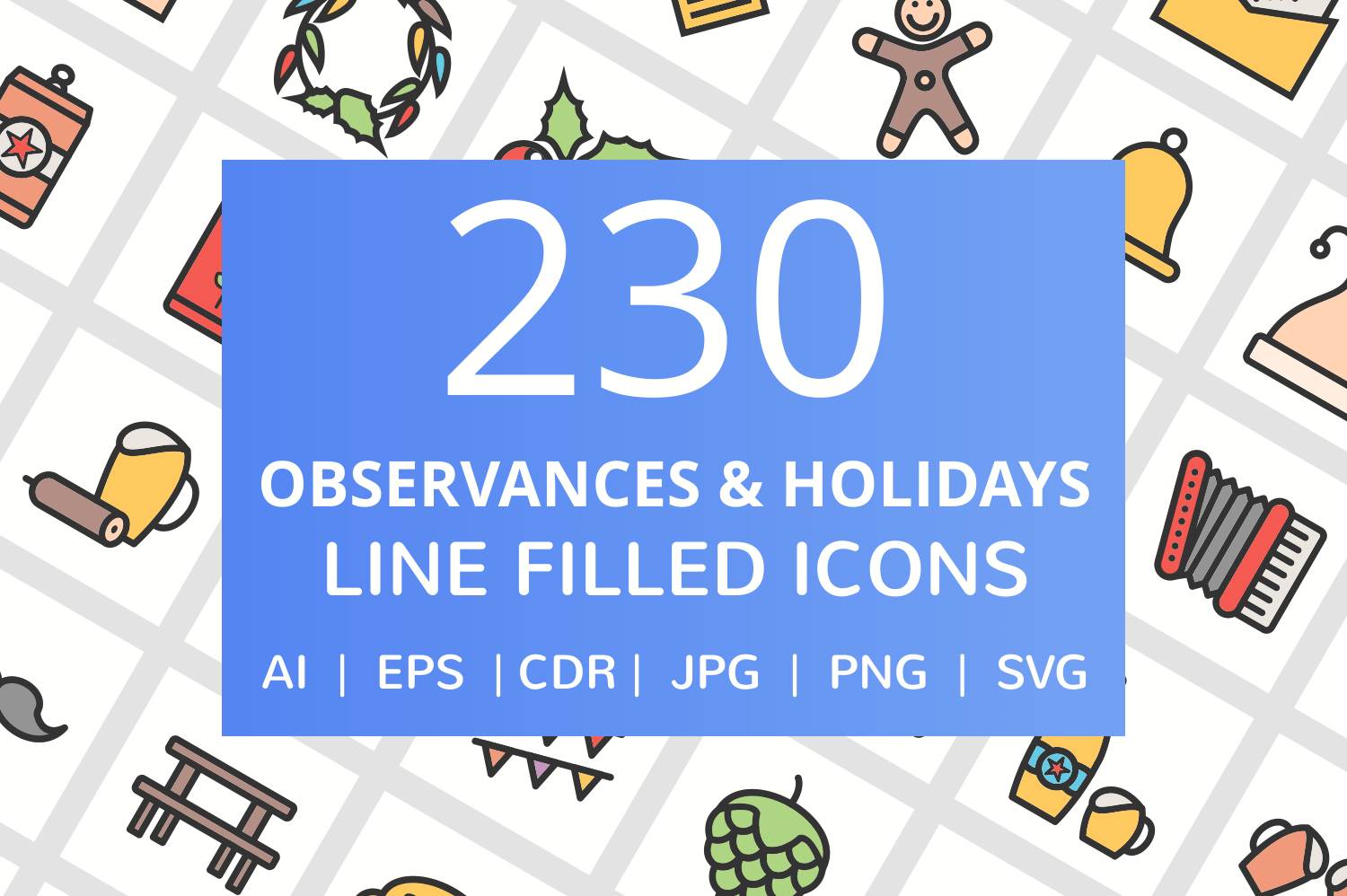 230 Observances & Holiday Filled Line Icons example image 1
