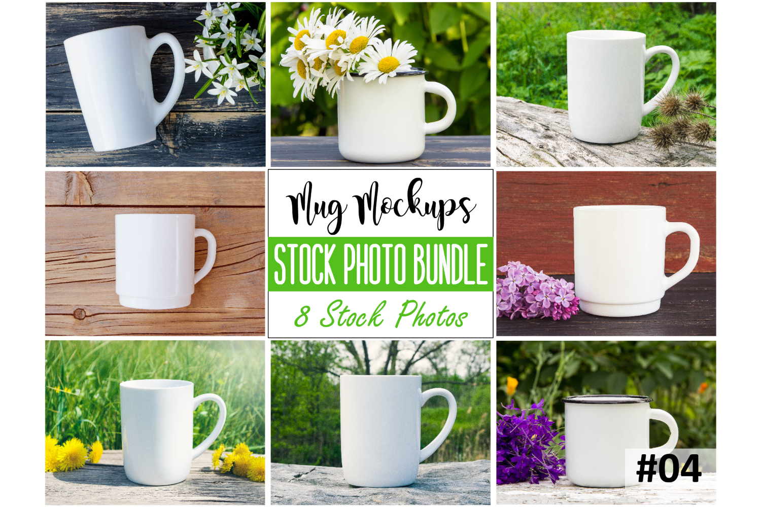 Mug mockup bundle 4, coffee cup, stock photo bundle example image 1