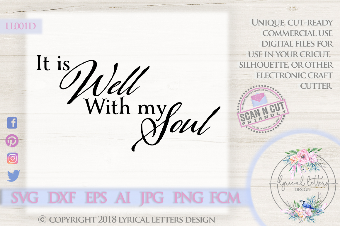 It is Well With My Soul Christian Hymn SVG DXF LL001D example image 1