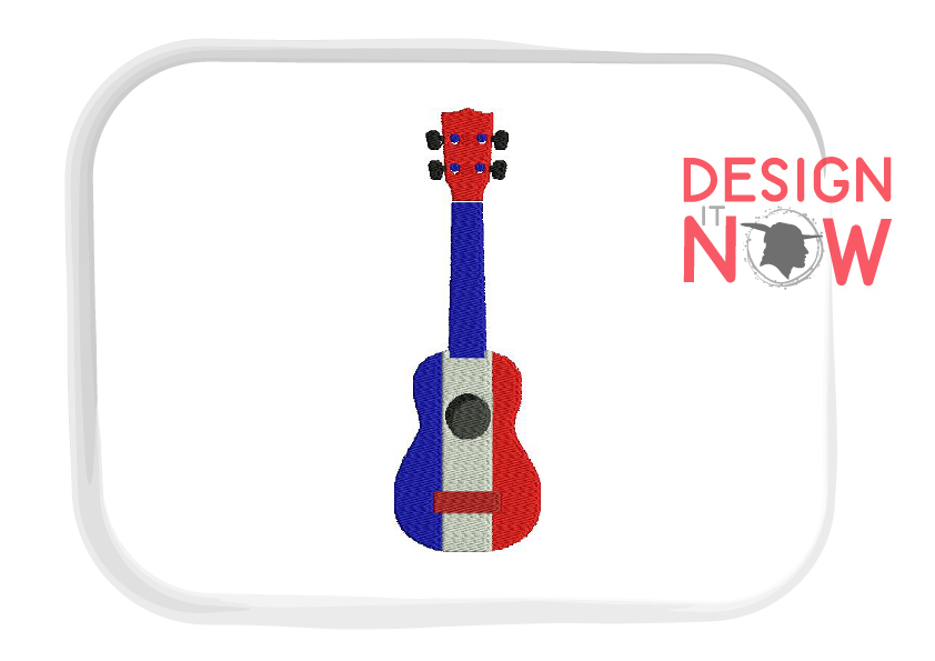 France Flag Embroidery Design, Map Embroidery Design, Guitar example image 2