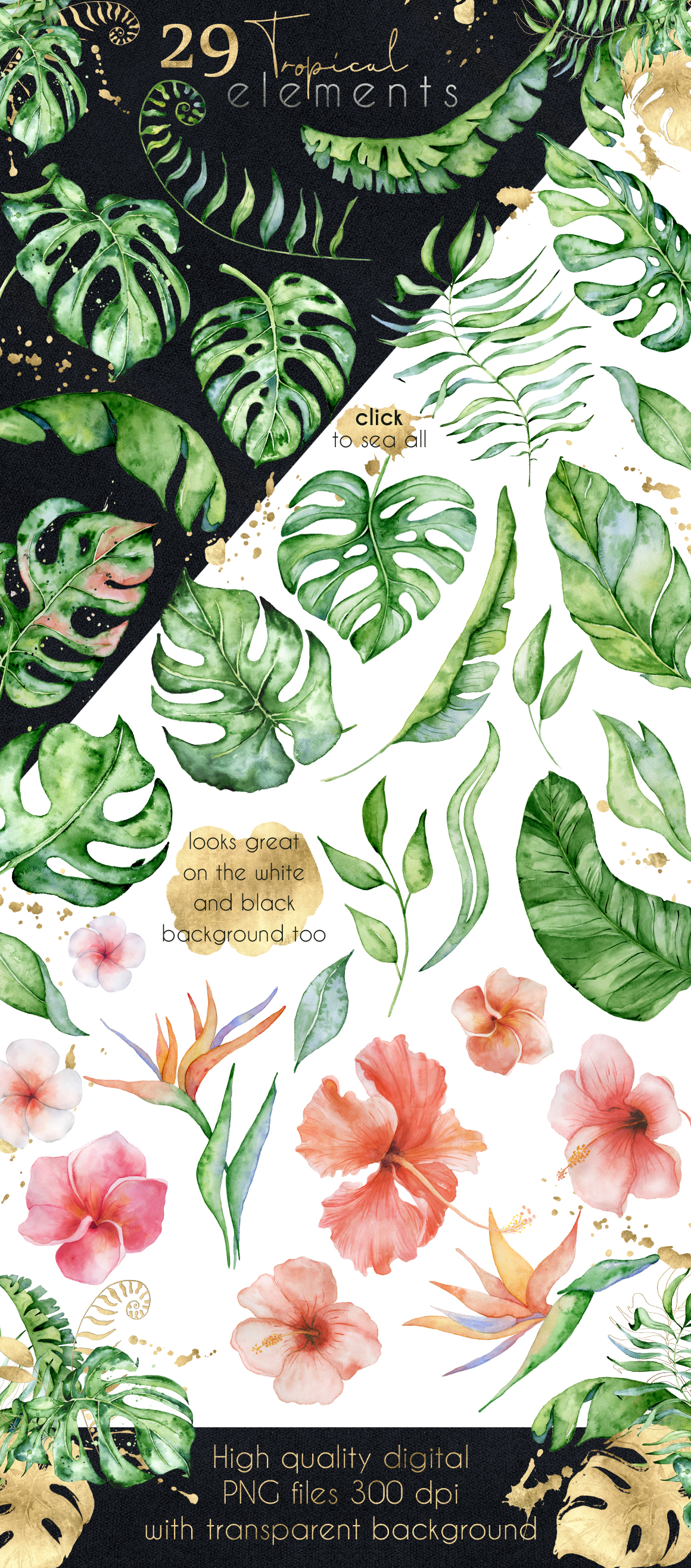 Mistery Monstera - tropical leaves watercolor illustration example image 8