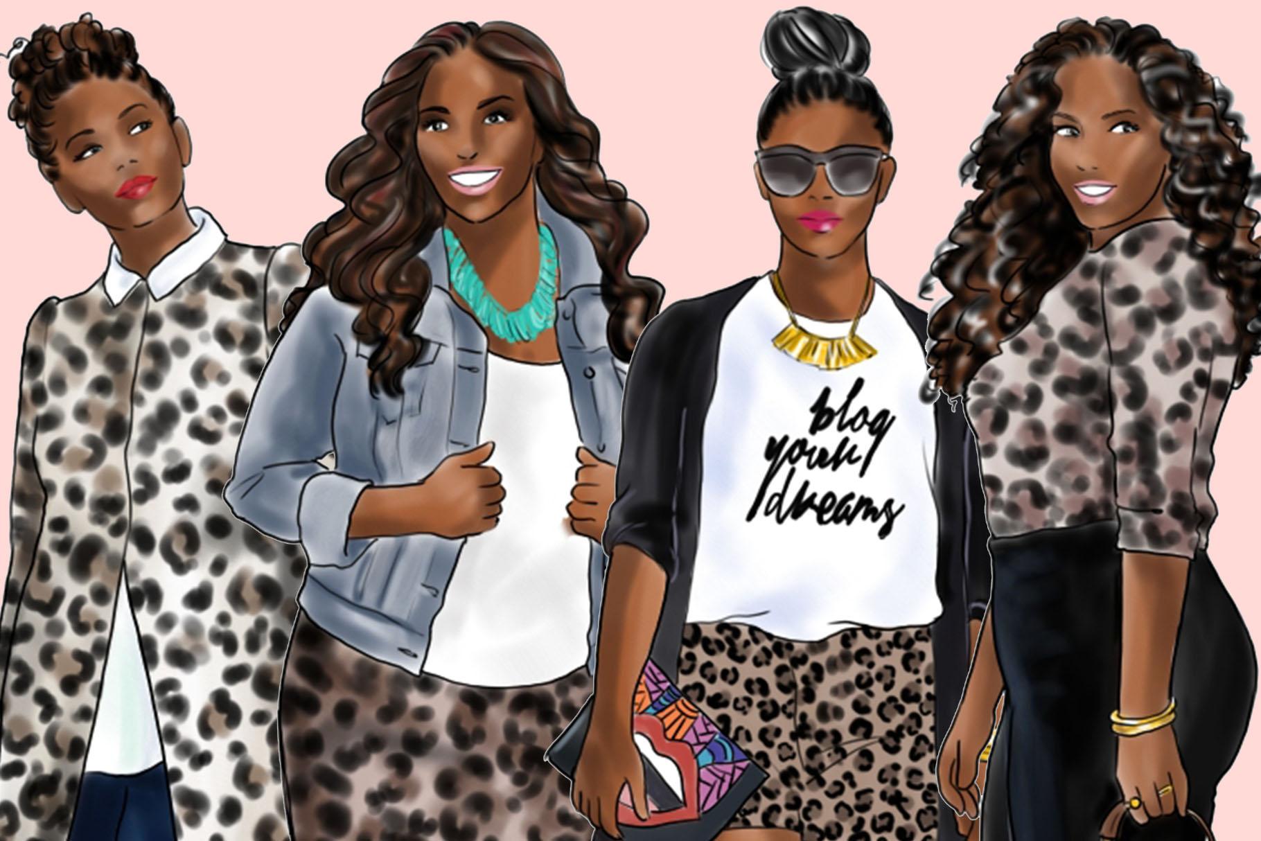 Fashion clipart - Curvy Girls in Animal Print - Dark Skin example image 3
