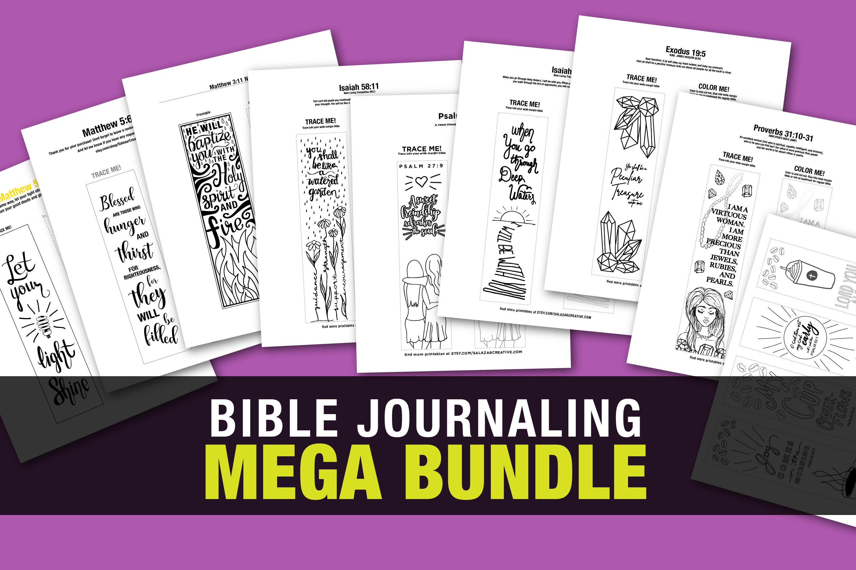 Bible Journaling Coloring Template - MEGA BUNDLE 12 Designs example image 1