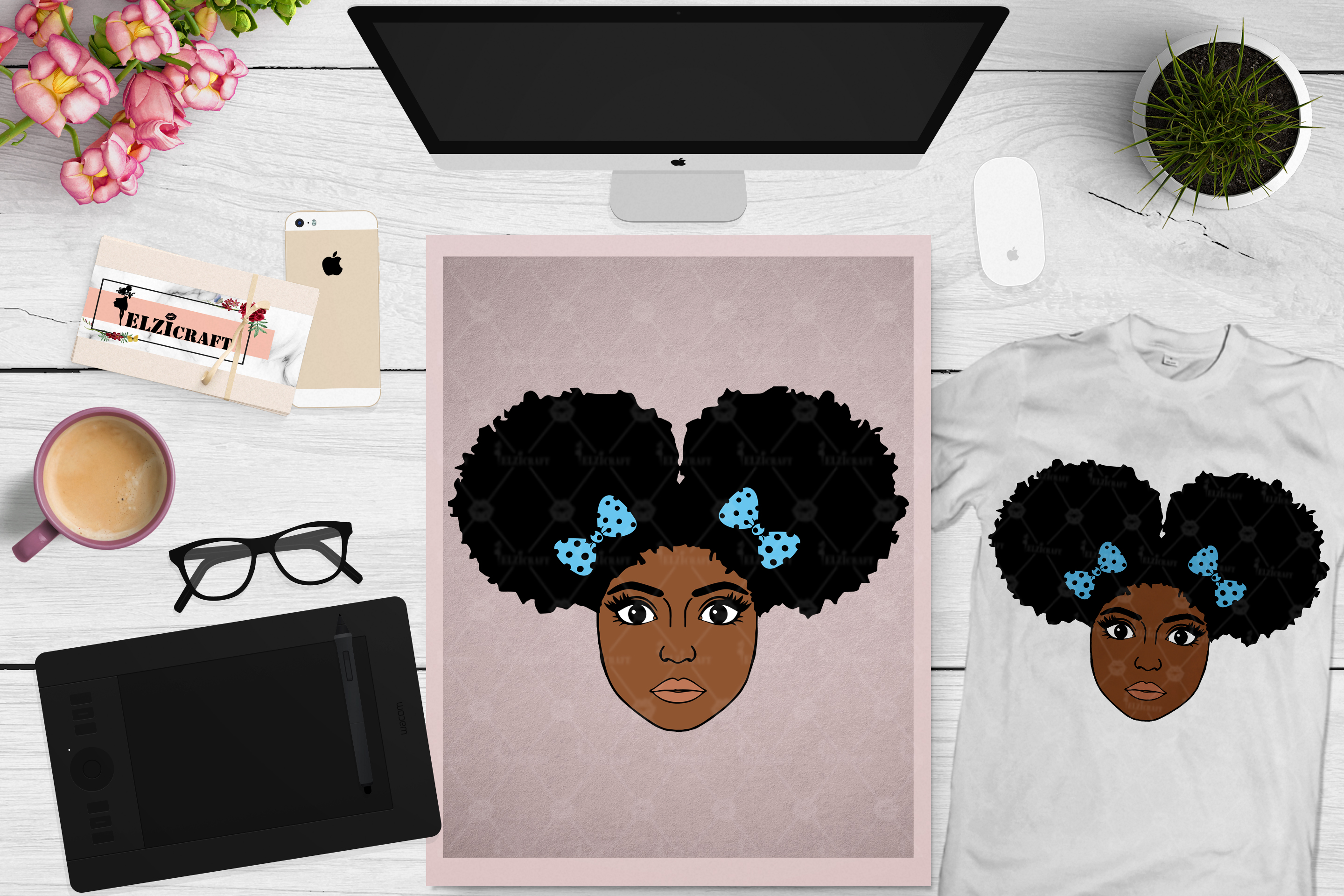 Afro Girl, Afro Puff, Ribbon, Bow, Hair, Puff SVG Cut File example image 1