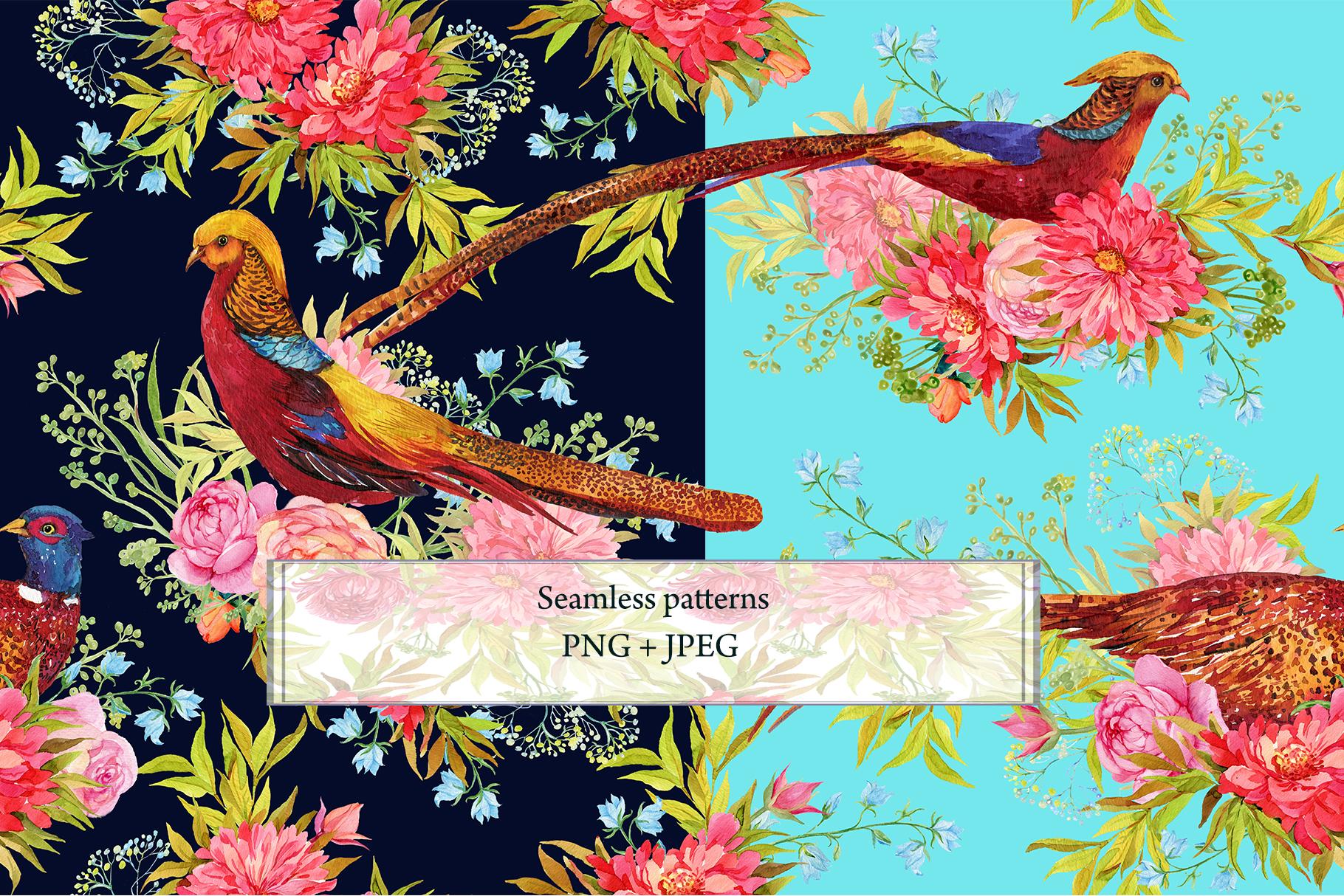 Pheasants Flowers Seamless Pattern example image 4