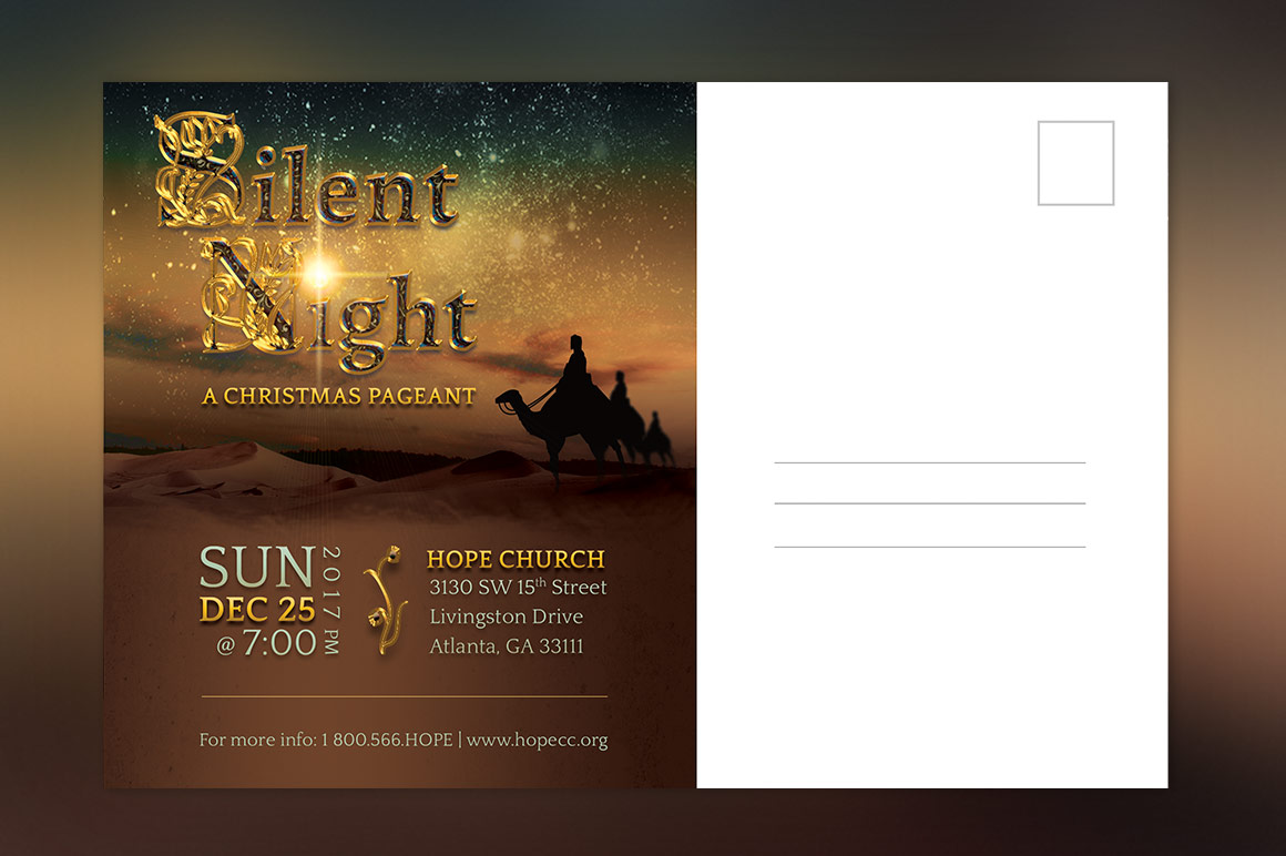 Silent Night Postcard Template example image 5