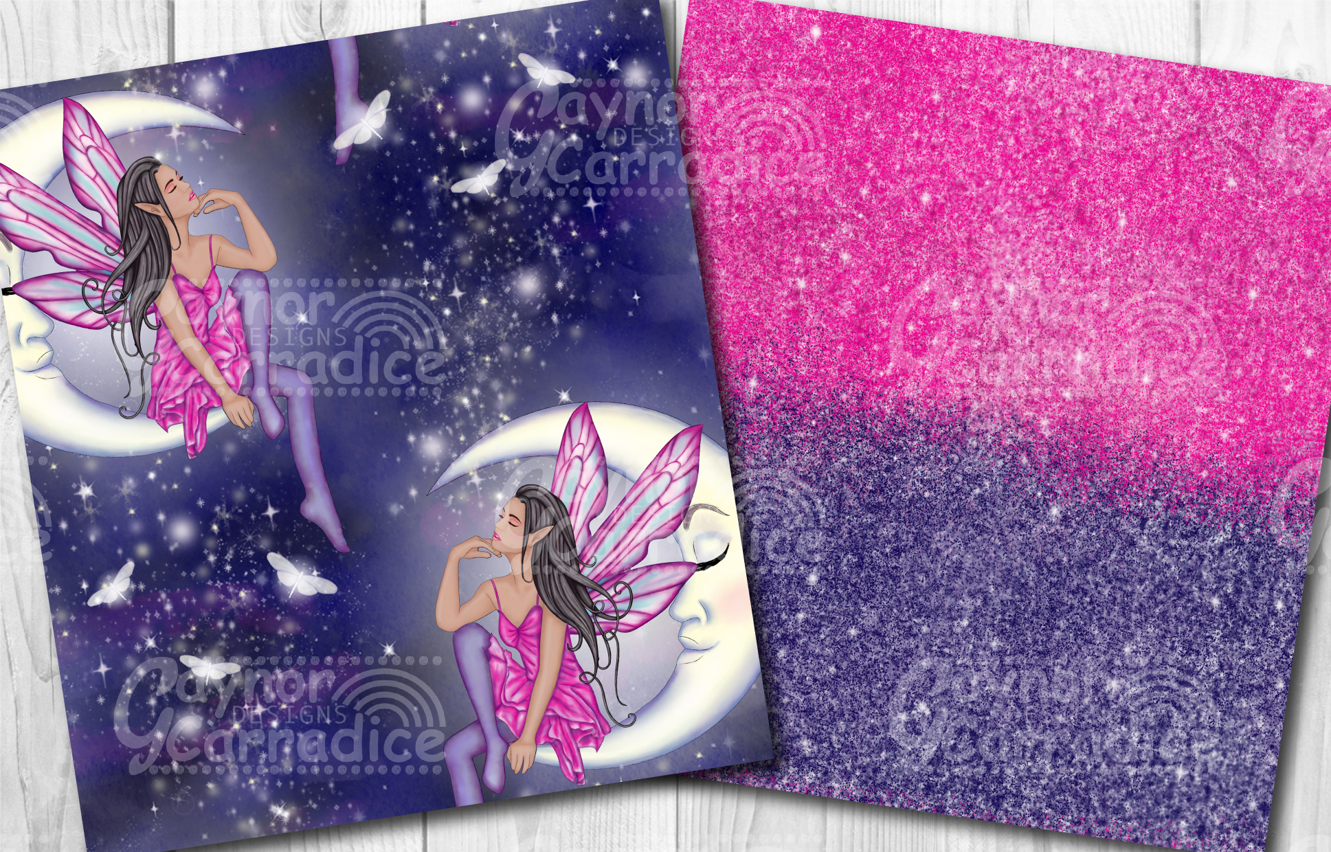 Moonlight Fairy Seamless Pattern Collection example image 3
