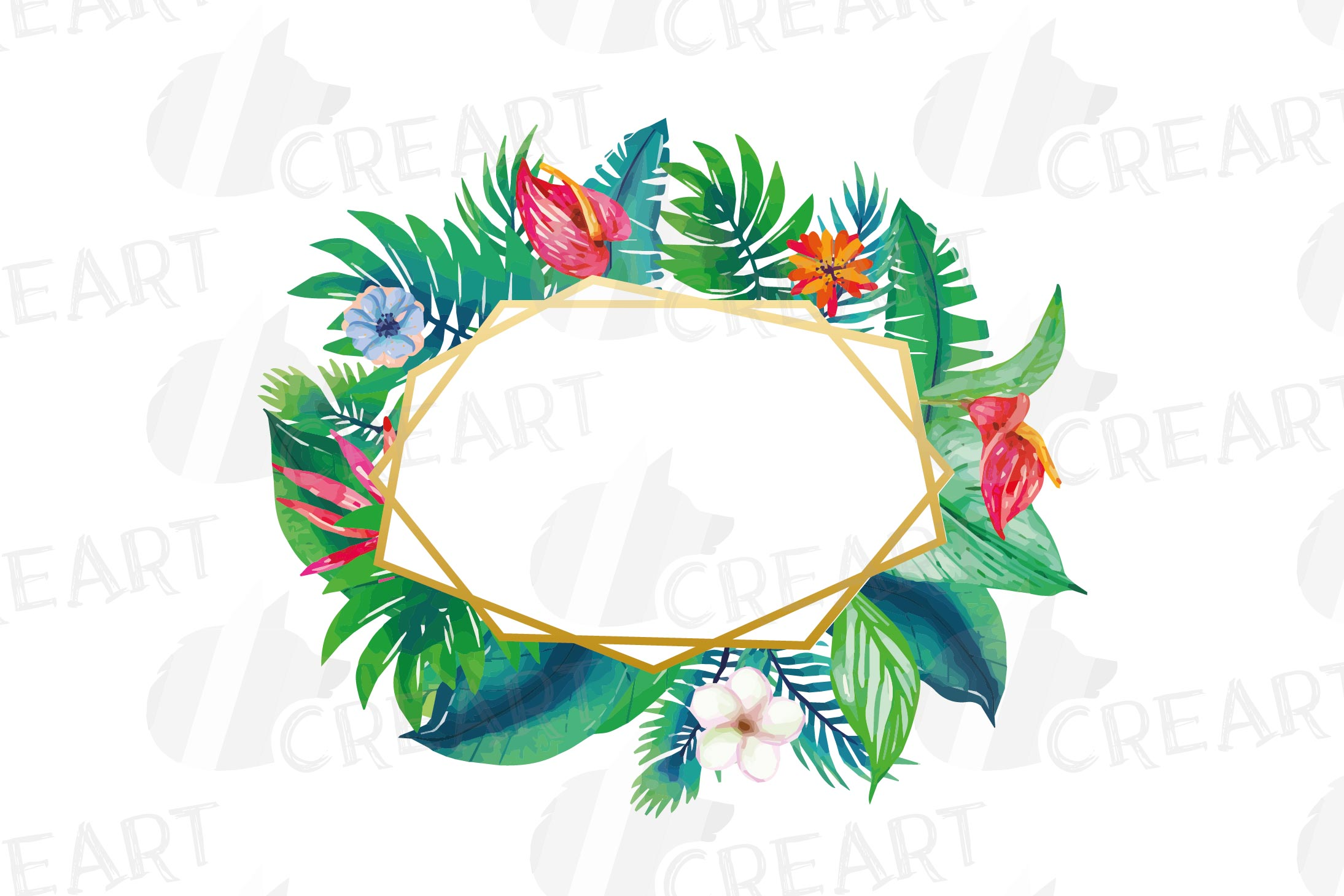 Watercolor tropical navy blue and green exotic floral frames example image 6