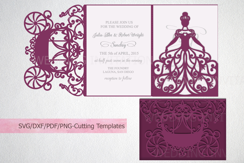Princess Bride Trifold Wedding Invitation laser cut svg dxf example image 1