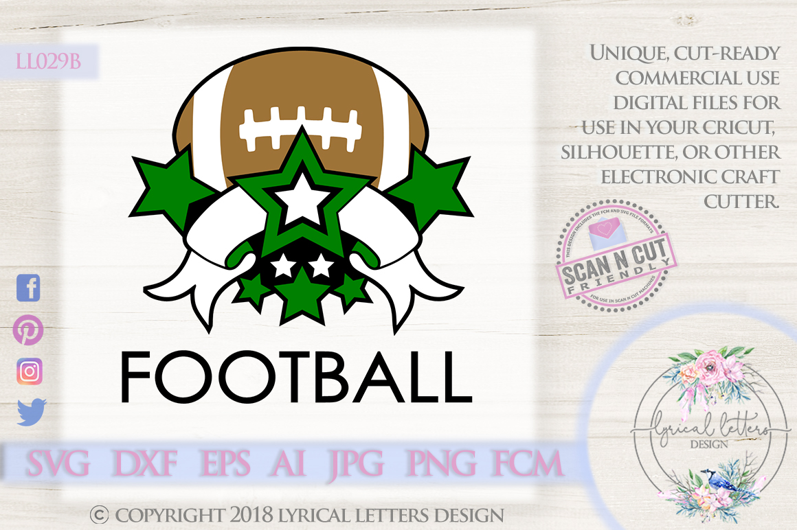 Football Sports Banner with Stars SVG DXF FCM LL029B example image 1