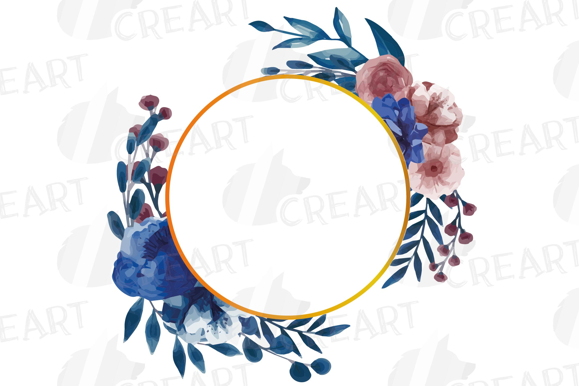 Watercolor elegant navy blue and blush floral borders vector example image 11
